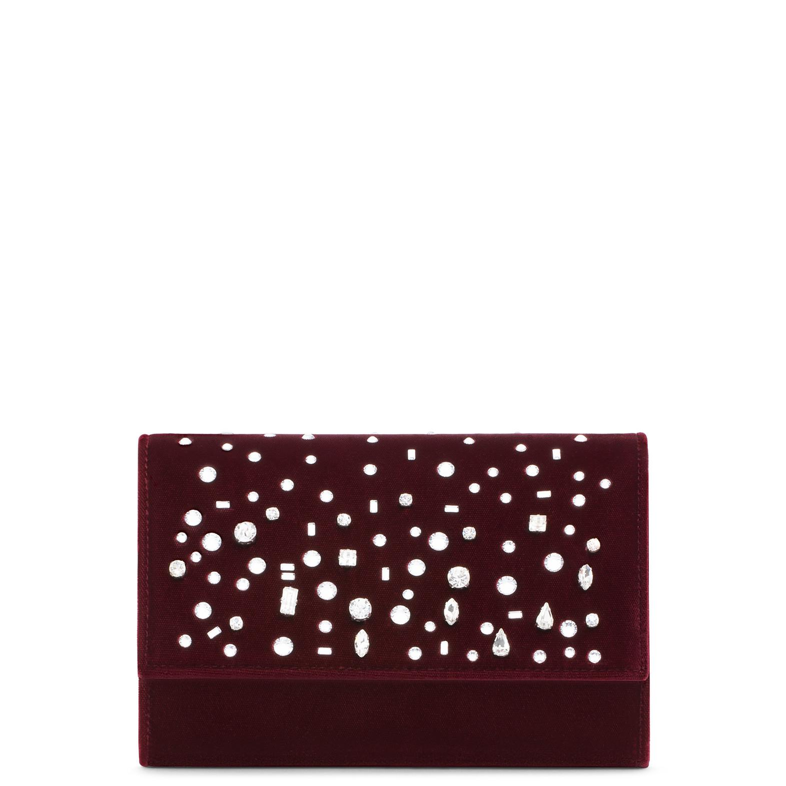 Giuseppe Zanotti - Burgundy Velvet Clutch With Crystals The Dazzling Kimmy In Red