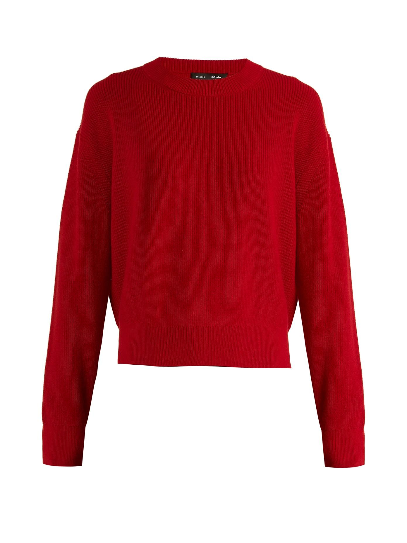 Proenza Schouler Zip-detail Wool And Cashmere-blend Knit Sweater In Dark Red