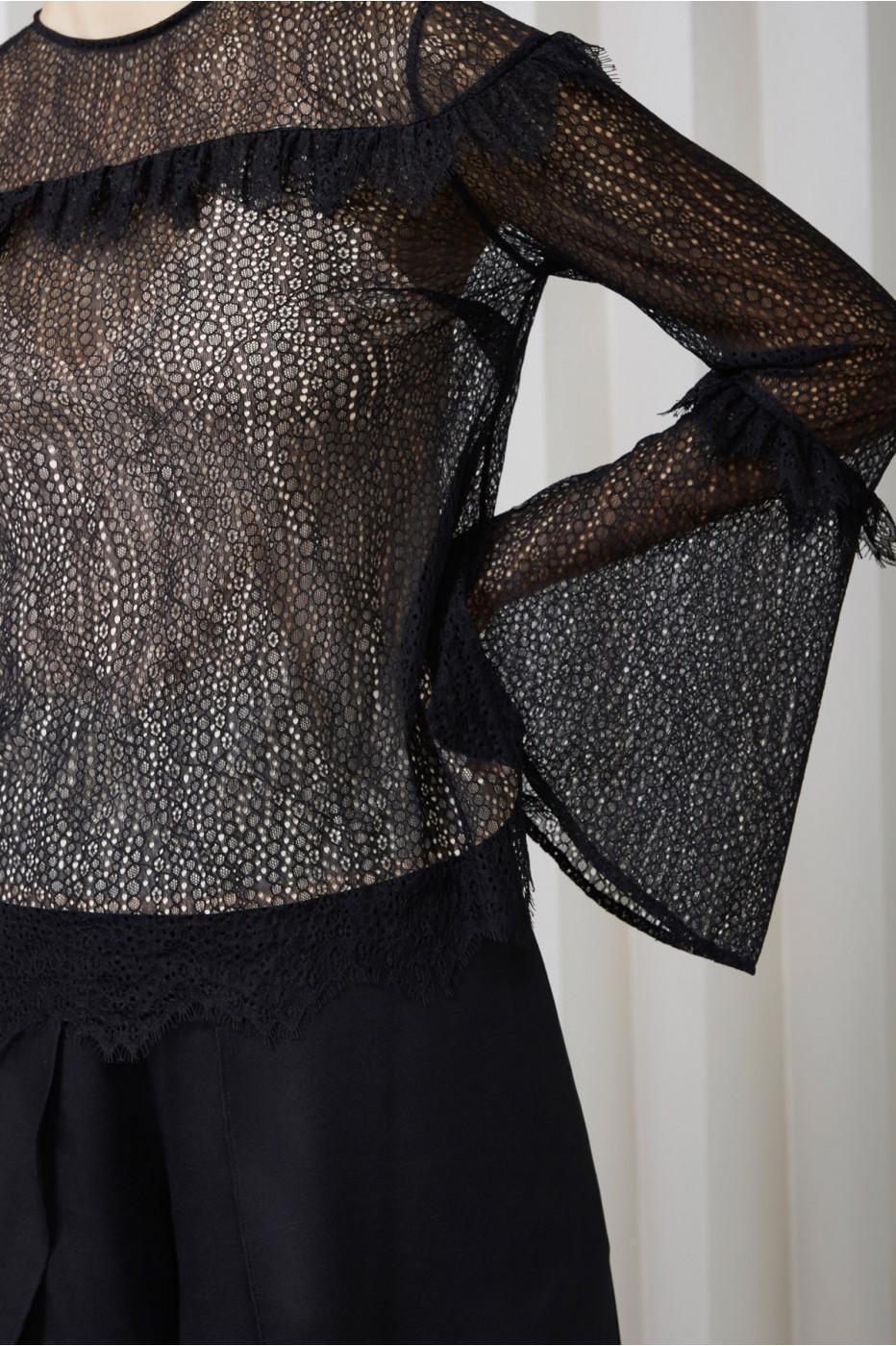Keepsake Slide Long Sleeve Lace Top In Black
