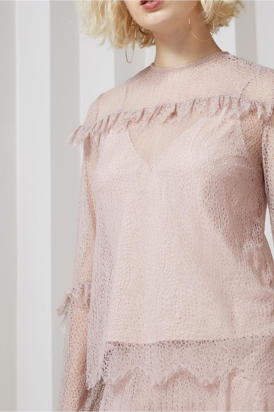 Keepsake Slide Long Sleeve Lace Top In Rose Smoke