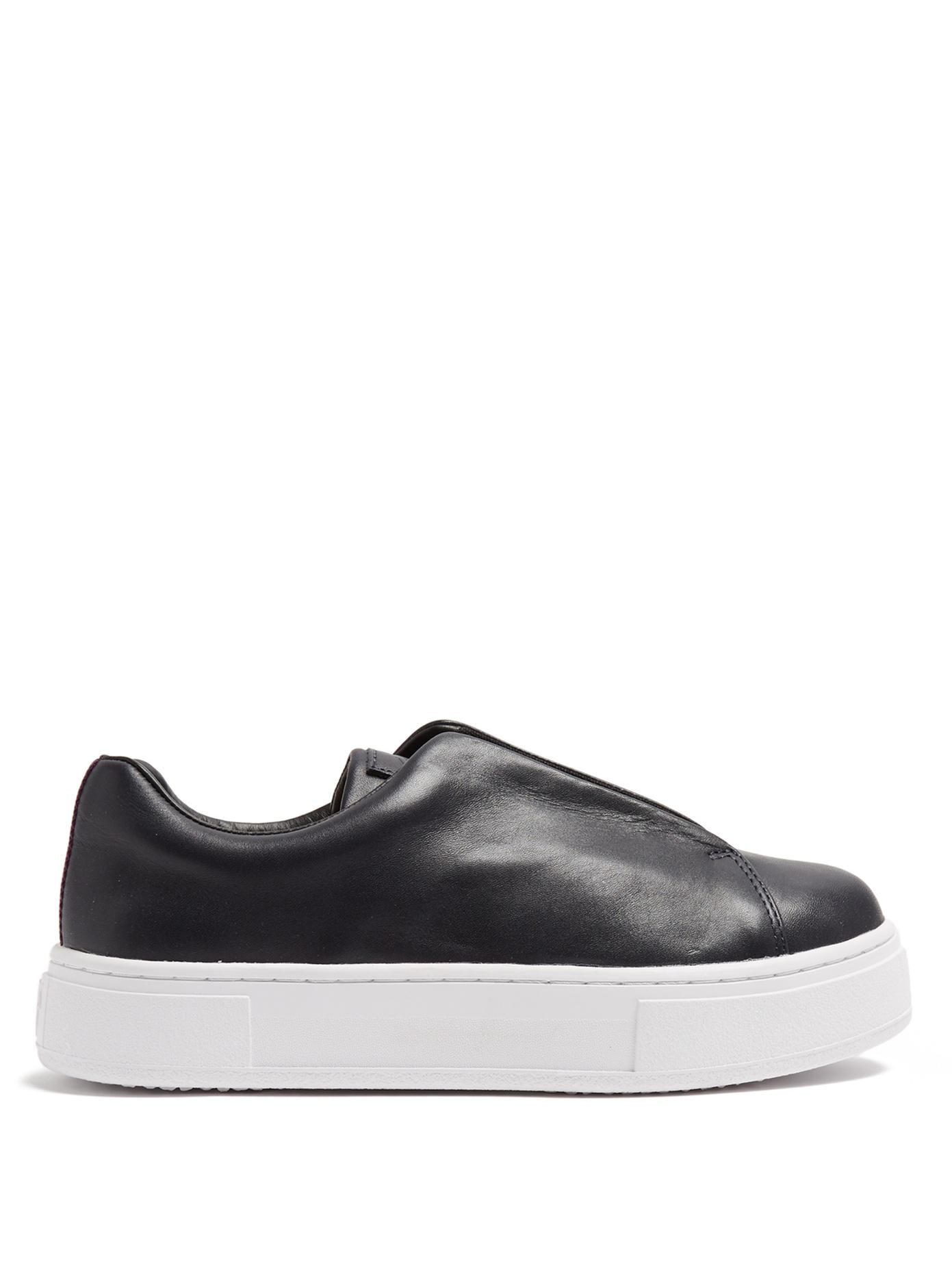 Eytys Doja Slip-on Leather Trainers In Navy