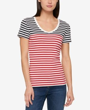 Tommy Hilfiger Cotton Striped T-shirt, Created For Macy's In Midnight Scarlet Stripe