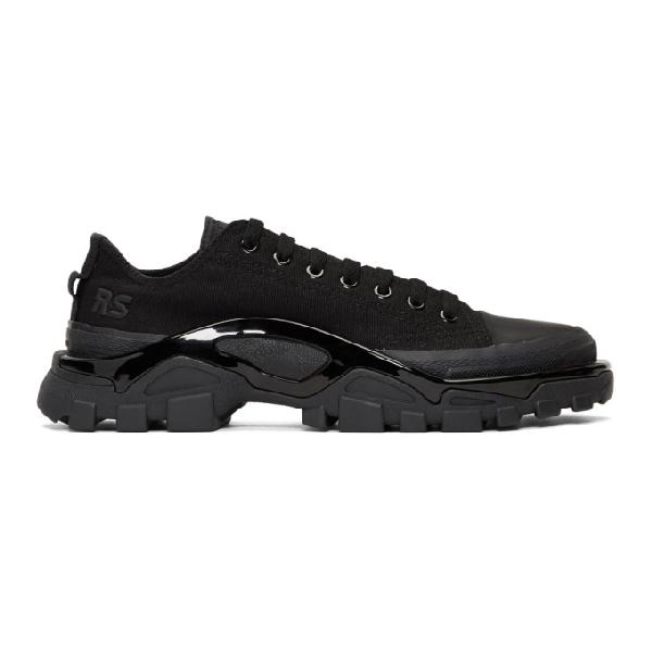 Raf Simons + Adidas Originals Detroit Canvas, Rubber And Mesh Sneakers In Core Black / Core Bl