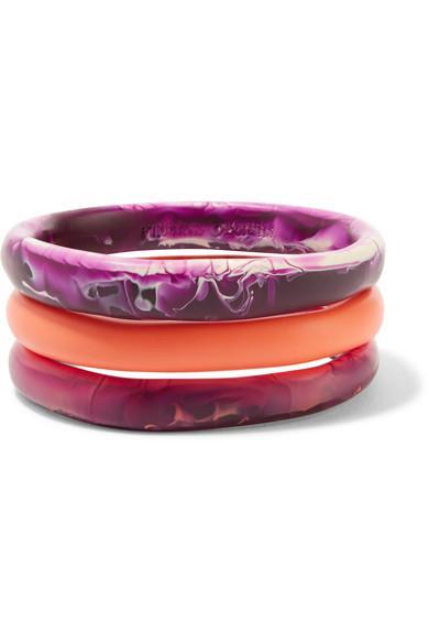 Dinosaur Designs Wishbone Set Of Three Resin Bangles In Purple