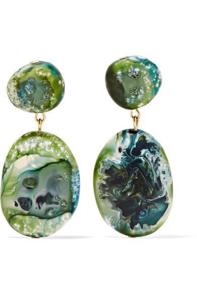 Dinosaur Designs Gold-tone Resin Earrings In Green