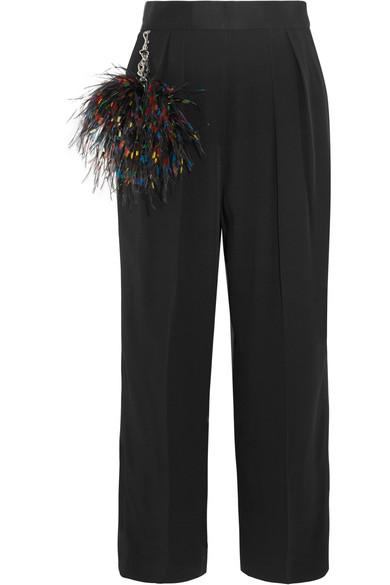 Christopher Kane Feather-embellished Cropped Crepe Wide-leg Pants