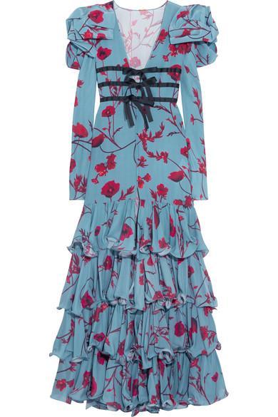 Johanna Ortiz Zingara Ruffled Floral-print Silk-crepe Gown