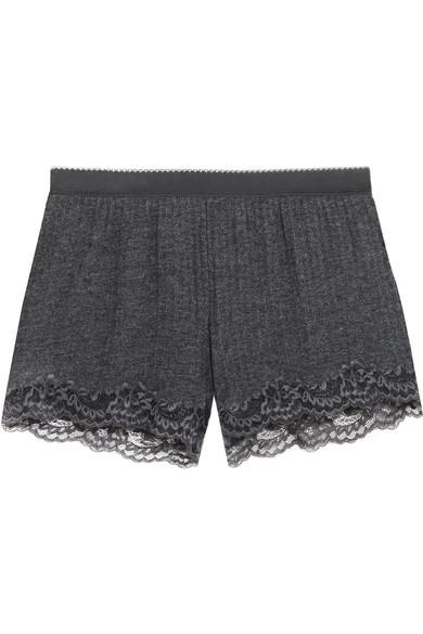 Stella Mccartney Lily Blushing Lace-trimmed Ribbed-jersey Shorts In Charcoal