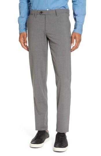 Eleventy Flat Front Wool Trousers In Medium Grey