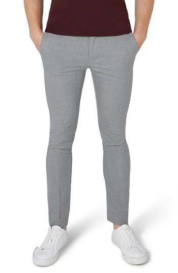 Topman Ultra Skinny Fit Smart Trousers In Grey