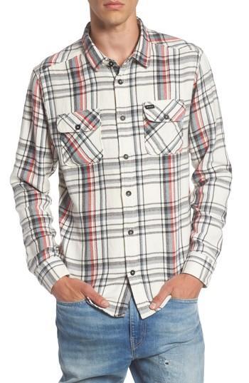 Rvca Camino Plaid Flannel Shirt In Silver Bleach