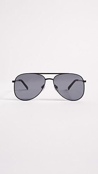 Le Specs Kingdom Aviator Polarized Sunglasses In Matte Black/smoke Mono