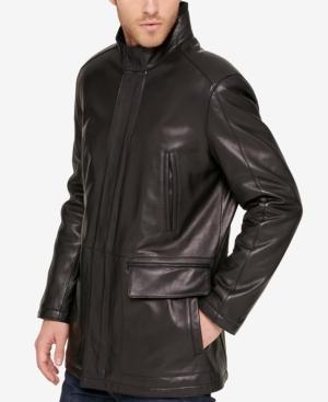Cole Haan Men's Leather Knit-collar Car Coat In Black