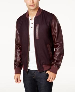 Tommy Hilfiger Men's Cascade Leather-sleeve Jacket In Crimson Glory