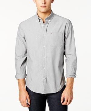 Tommy Hilfiger Men's Custom-fit Dean Dobby Chambray Shirt In Griffin
