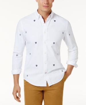 Tommy Hilfiger Men's Custom-fit Dellacourt Shield-print Shirt In Bright White
