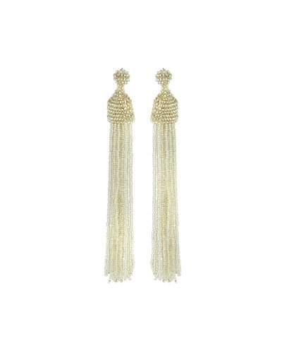Kenneth Jay Lane Seed Bead Tassel Earrings, Silvertone