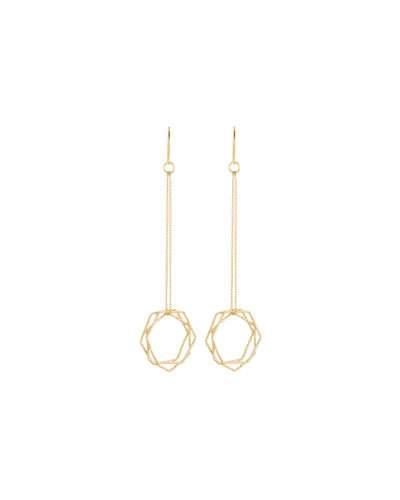 Kenneth Jay Lane Multi-hexagon Dangle Earrings In Gold