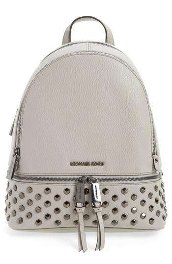 7bd242fcf6e7 Michael Michael Kors Medium Rhea Zip Studded Leather Backpack - Grey In Pearl  Grey