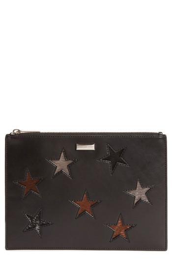 Stella Mccartney Falabella Star Inset Faux Leather Zip Pouch - Black