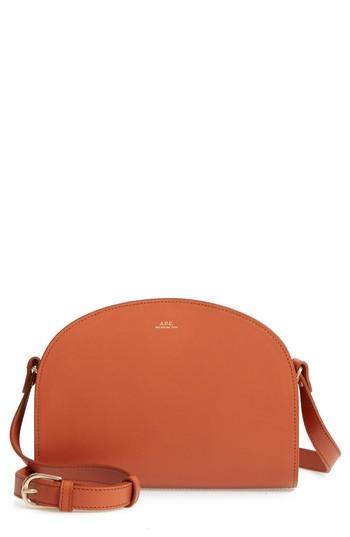 A.p.c. Sac Demi Lune Leather Crossbody Bag - Brown In Caramel