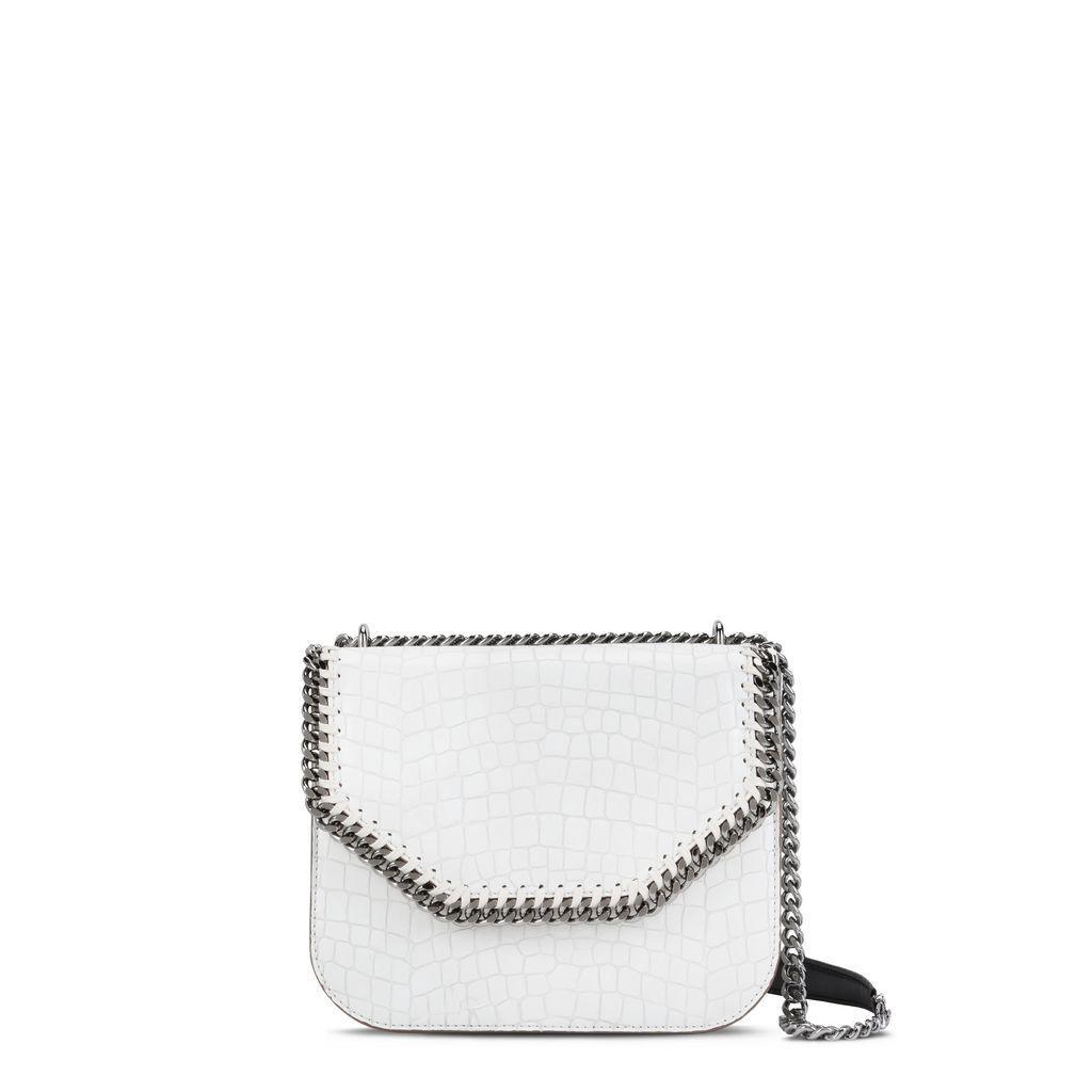 Stella Mccartney Medium Falabella Box Croc-embossed Faux Leather Shoulder Bag - White In Ivory