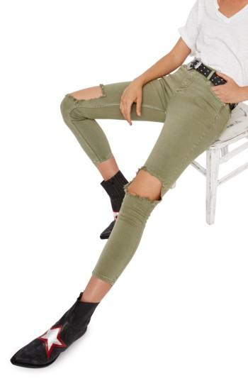 Free People High Rise Busted Knee Skinny Jeans In Moss