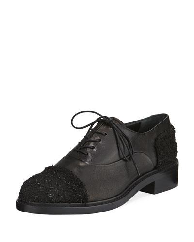 Stuart Weitzman Marlon Lace-up Oxford In Black