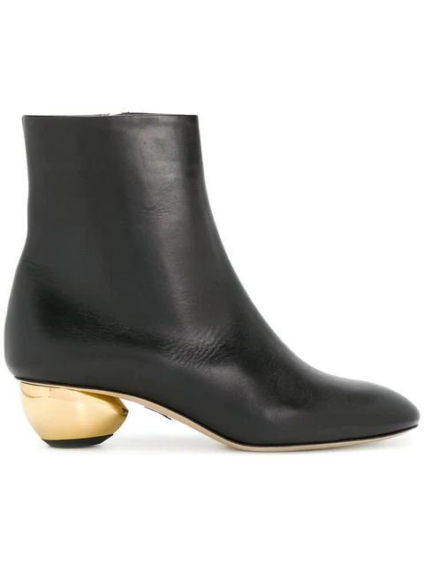 Paul Andrew 'Brancusi' Orb Heel Leather Ankle Boots In 900