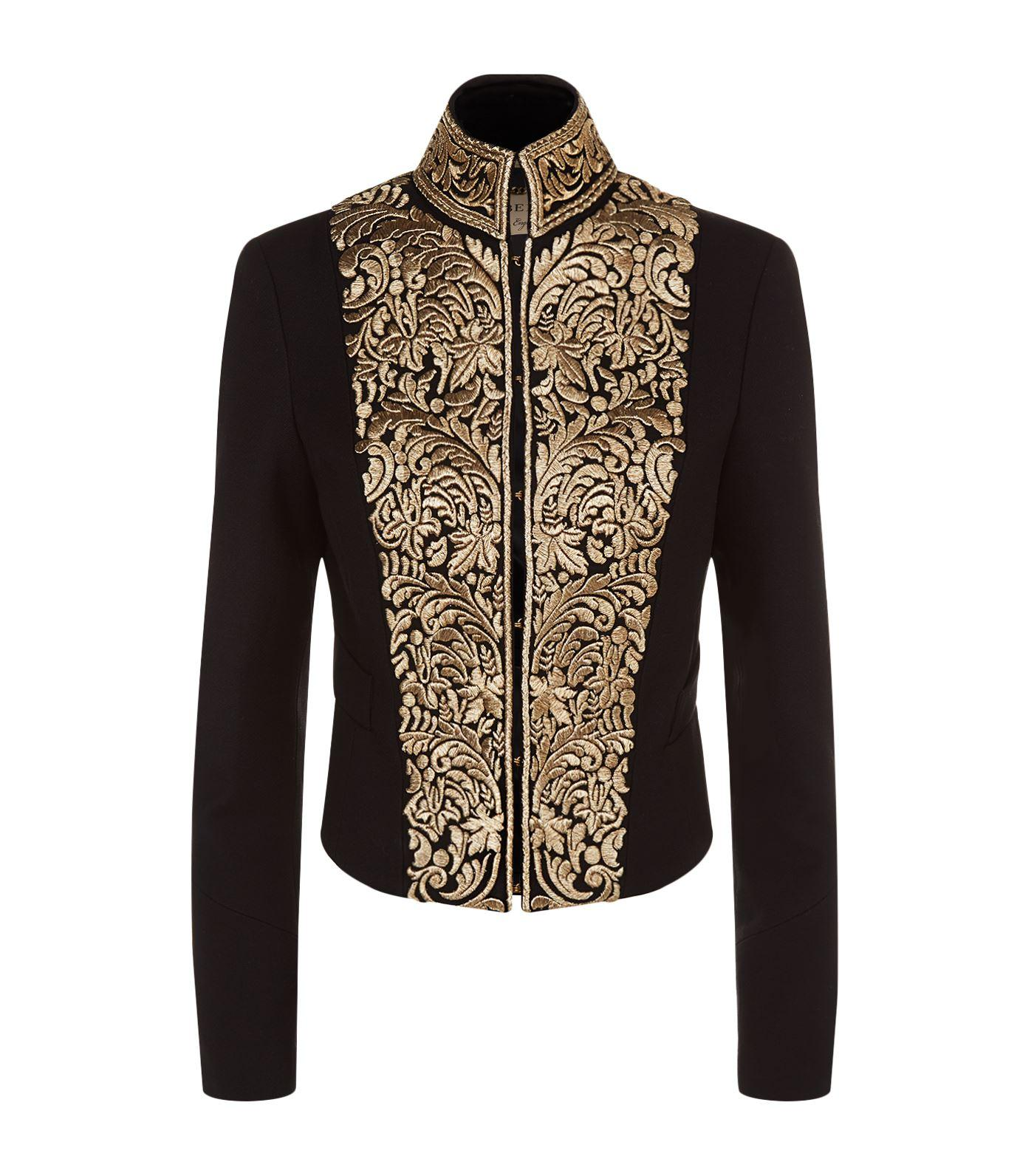 Burberry Dawley Embroidered Military Jacket In Black