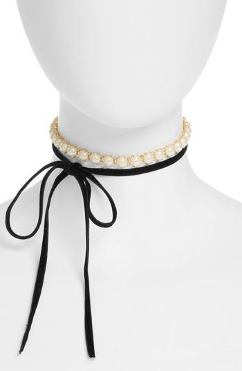 Kate Spade Girls In Pearls Wrap Choker In Cream Multi