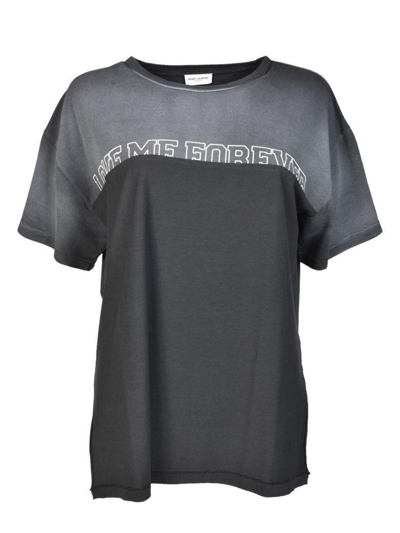 Saint Laurent Contrast Panel T-shirt In Grey