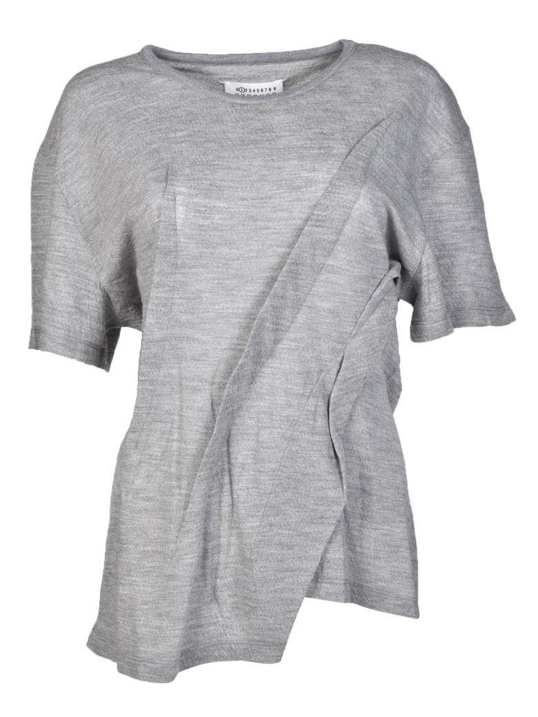 Maison Margiela Jersey Short Sleeve Top In Grey