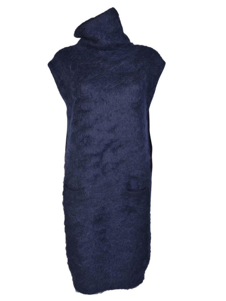 Maison Margiela High Neck Dress In Blue