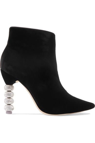 Sophia Webster Coco Crystal-embellished Velvet Ankle Boots In Black