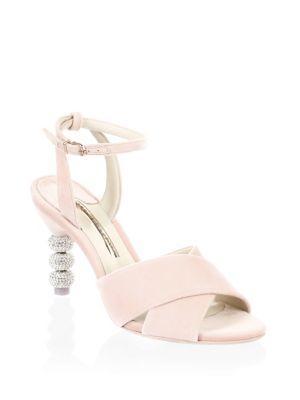 Sophia Webster Natalia Crystal-embellished Velvet Mid Sandals In Antique Rose