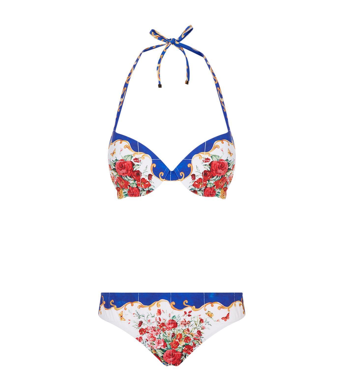 Dolce & Gabbana Catagirone Padded Bikini In Multi