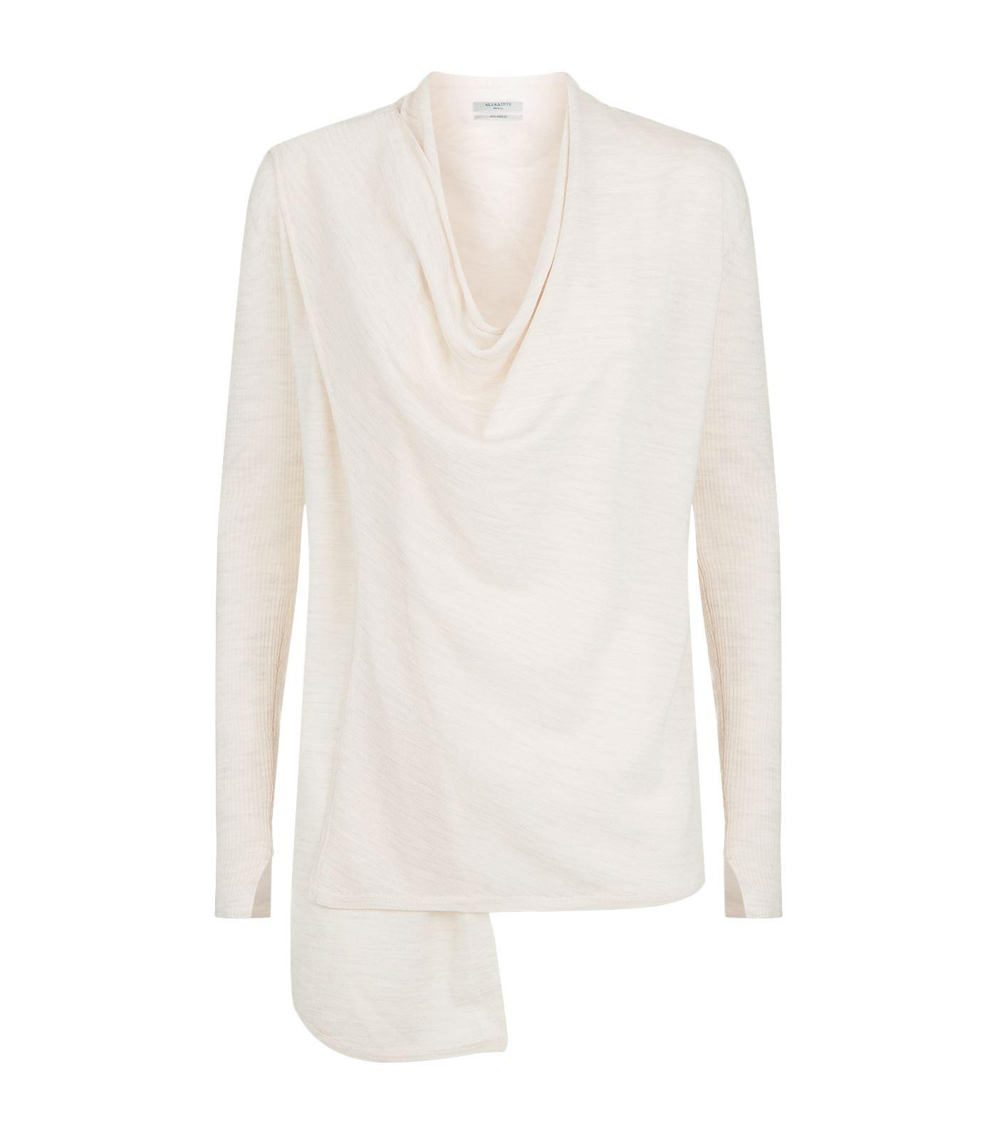 Allsaints Drina Ribbed Cardigan In Pink