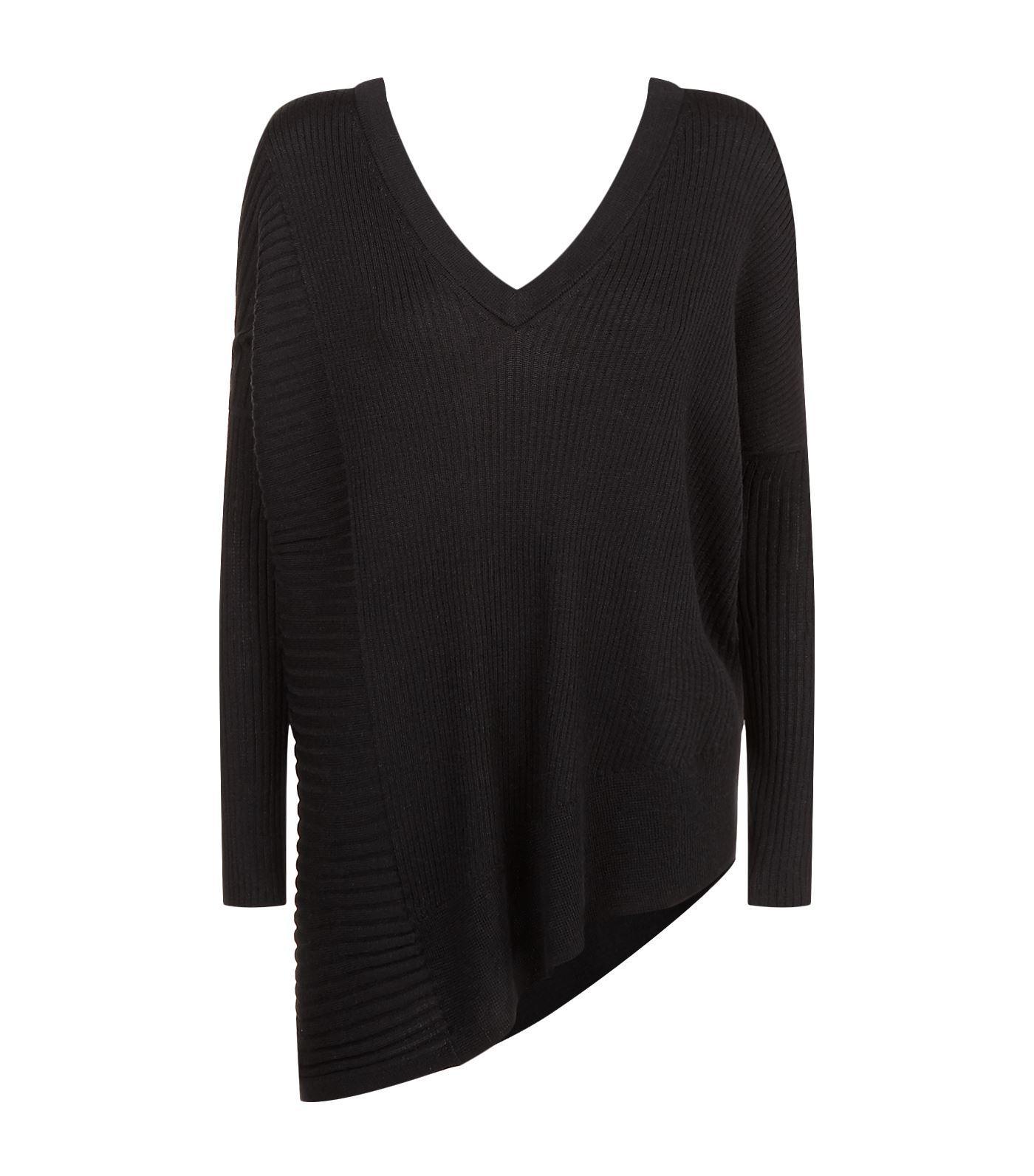 Allsaints Keld Olivo Asymmetric Sweater In Black