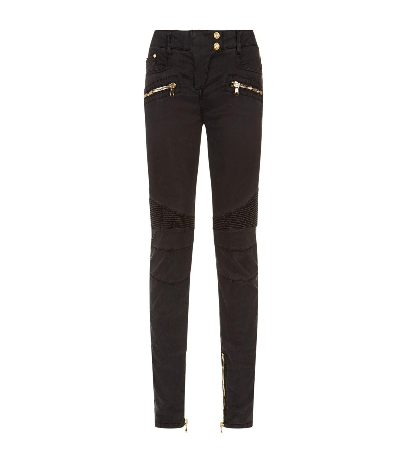 Balmain Sateen Biker Jeans In Black