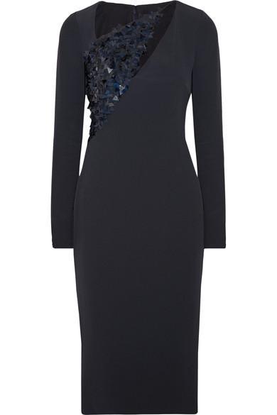 Cushnie Et Ochs Larissa Embellished Tulle-paneled Cady Midi Dress In Midnight