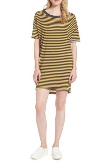 Stateside Mustard Stripe T-shirt Dress In Charcoal