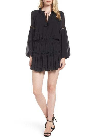 Misa Smocked Ruffle Dress In Ink Black