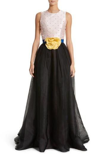 Carolina Herrera Colorblock Embellished Bodice Gown In Blush