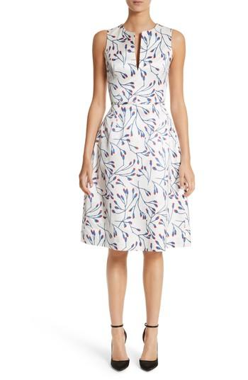 Carolina Herrera Flower Bud Jacquard Fit And Flare Knit Dress In Ivory Multi