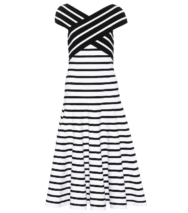 Carolina Herrera Off-the-shoulder Fit-and-flare Striped Tea-length Knit Dress In Black