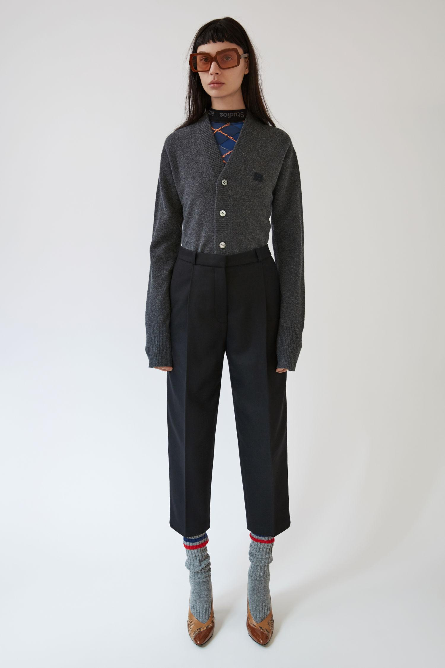 Acne Studios Cropped Flannel Trousers Black