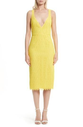 Diane Von Furstenberg Lace Midi Sheath Dress In Acid Yellow