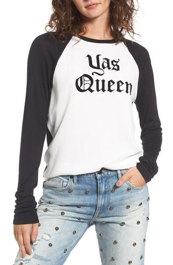 Juicy Couture Yas Queen Tee In White/ Pitch Black