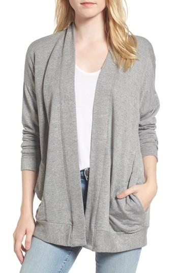 Stateside Fleece Cardigan In Heather Grey